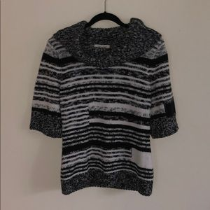 Short Sleeve Cowl Neck Sweater Turtle Neck SS M